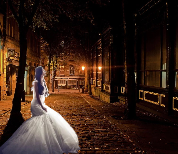 https://pixabay.com/photos/city-night-dark-architecture-lamps-89197/ and wedding-dresses-bride-wedding-1486005