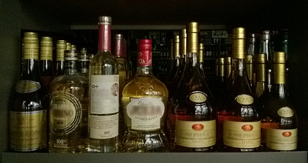 some bottles with alcoholic drinks